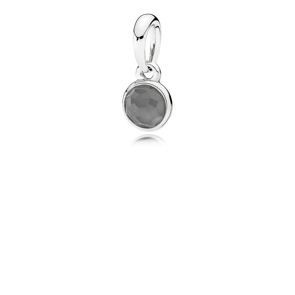 Pandora June Droplet Pendant, Grey Moonstone 390396MSG