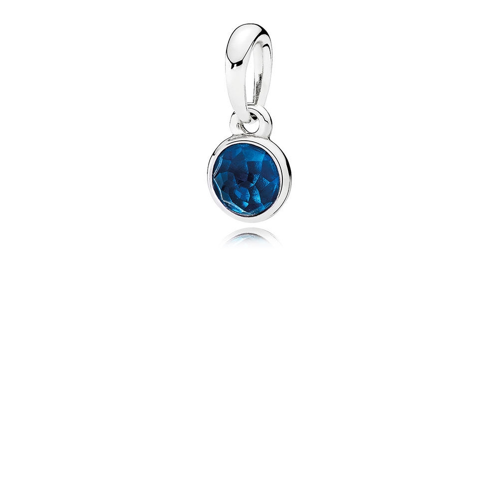 Pandora December Droplet Pendant, London Blue Crystal 390396NLB