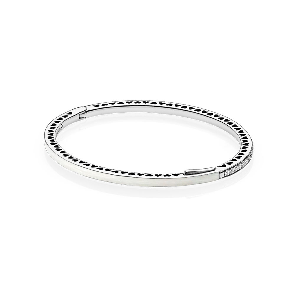 Radiant Hearts of PANDORA Bangle Bracelet, Silver Enamel & Clear