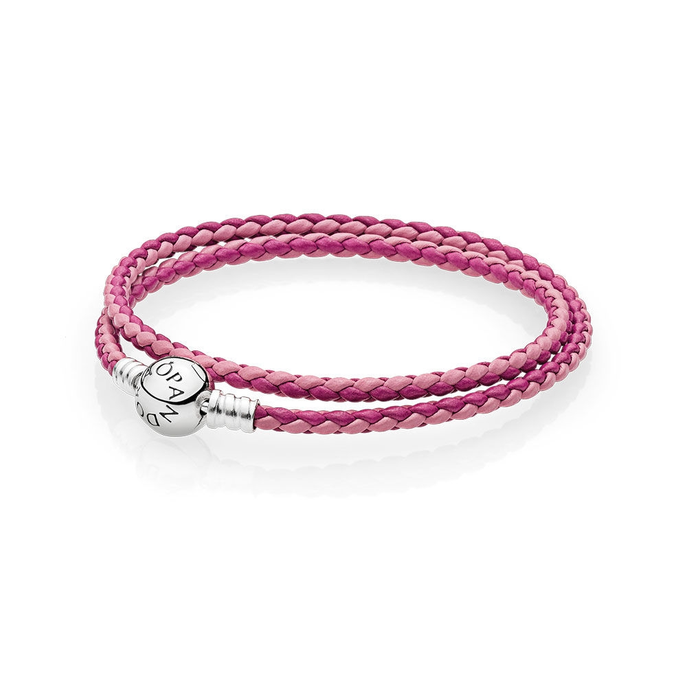 Pandora Mixed Pink Woven Double-Leather Charm Bracelet 590747CPM