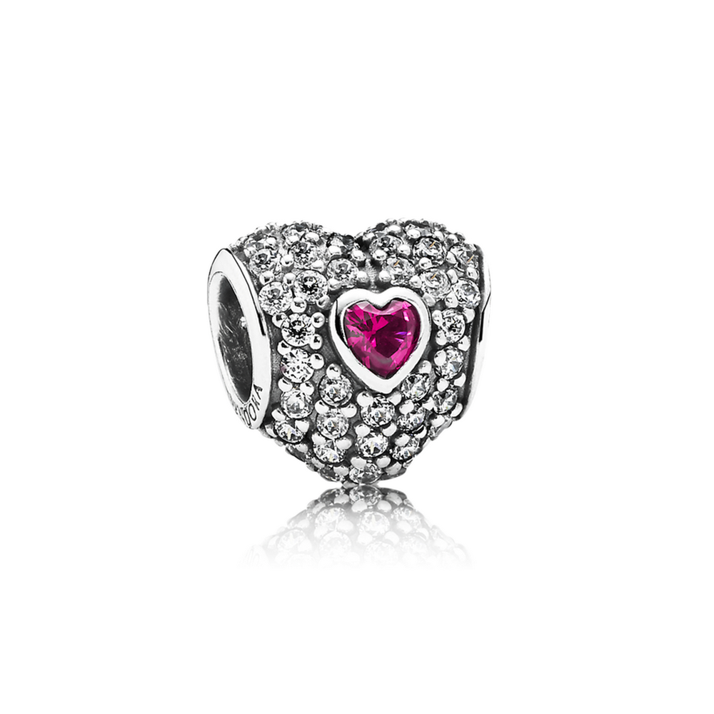 In My Heart Charm, Clear CZ & Synthetic Ruby 791168SRU