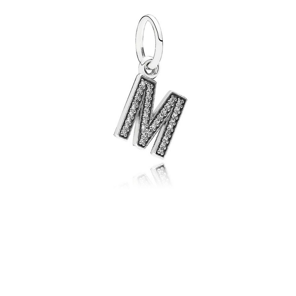 Letter M Dangle Charm, Clear CZ 791325CZ