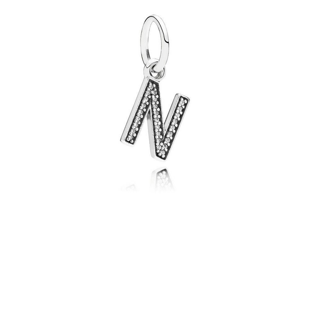 Letter N Dangle Charm, Clear CZ 791326CZ