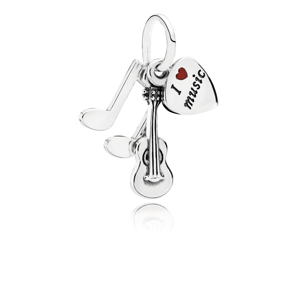 I Love Music Dangle Charm, Red Enamel 791504EN09