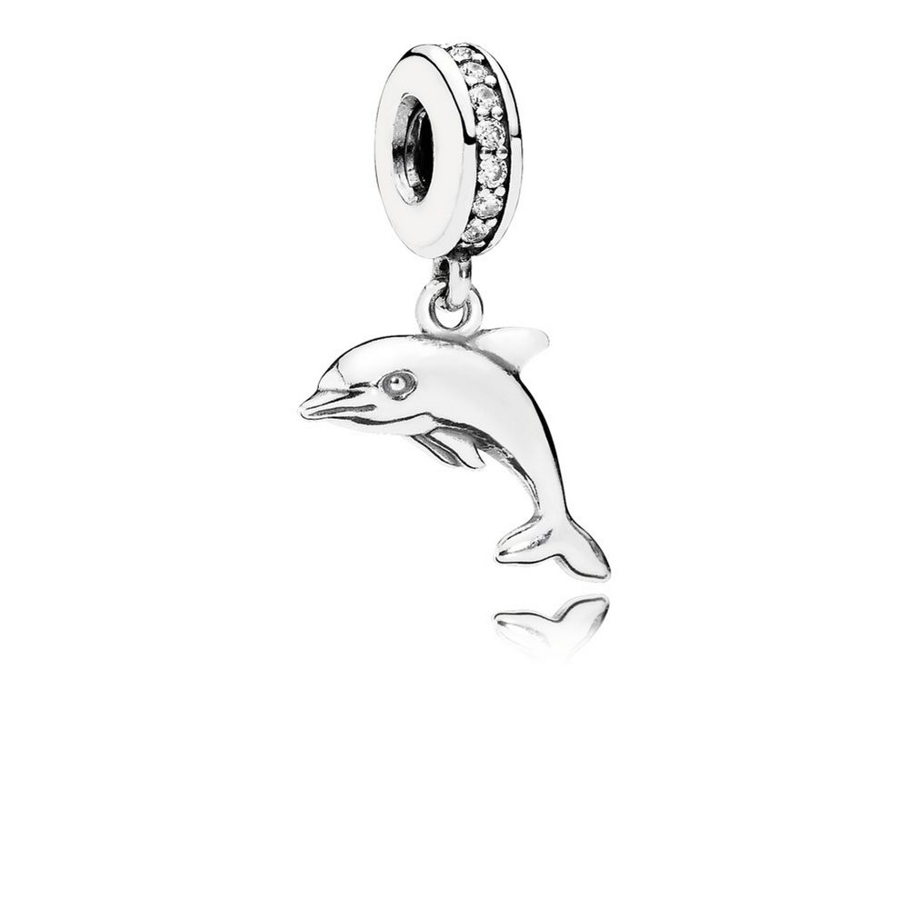 Pandora Playful Dolphin Dangle Charm, Clear CZ 791541CZ