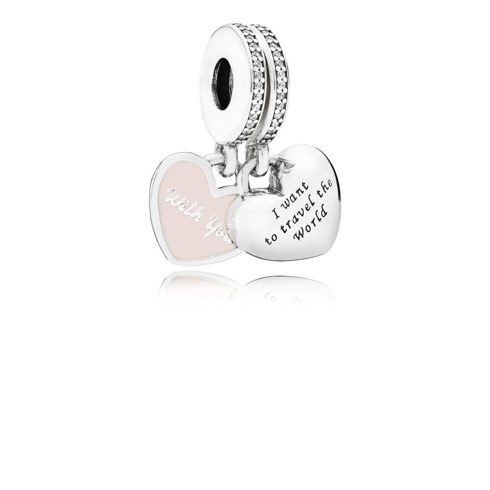 Pandora Travel Together Forever Dangle Charm, Pink Enamel & Clea