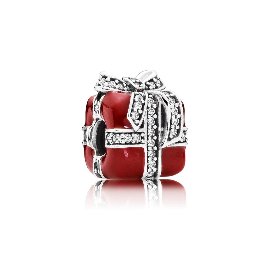 Gift silver charm with clear cubic zirconia and red enamel 79177