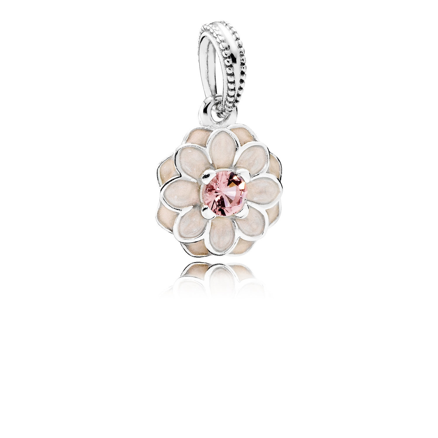 Pandora Blooming Dahlia Dangle Charm, Cream Enamel & Blush Pink